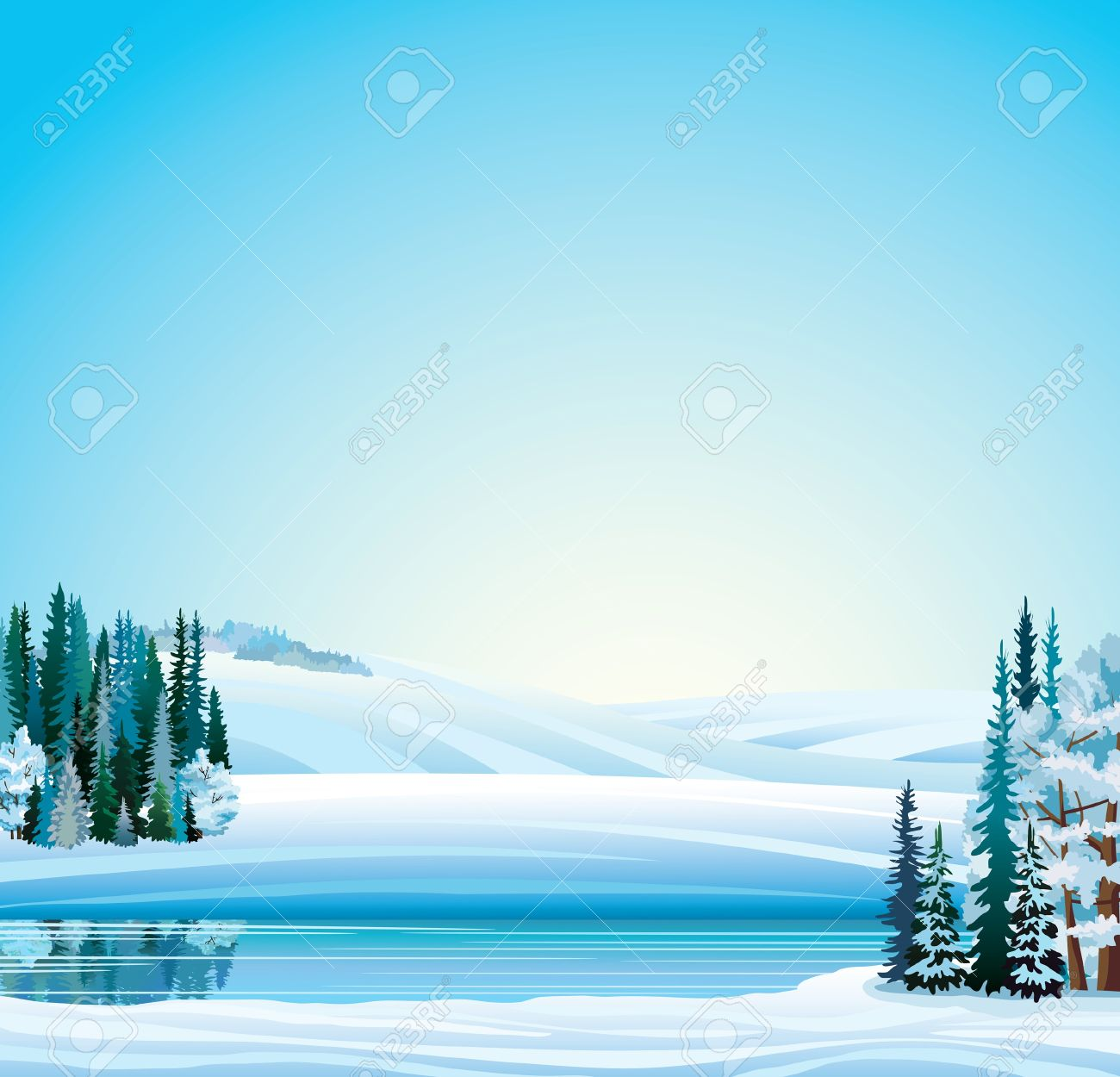 Vector winter landscape. Frozen river, forest and hills on a blue sky background. Stock Vector - 16965864
