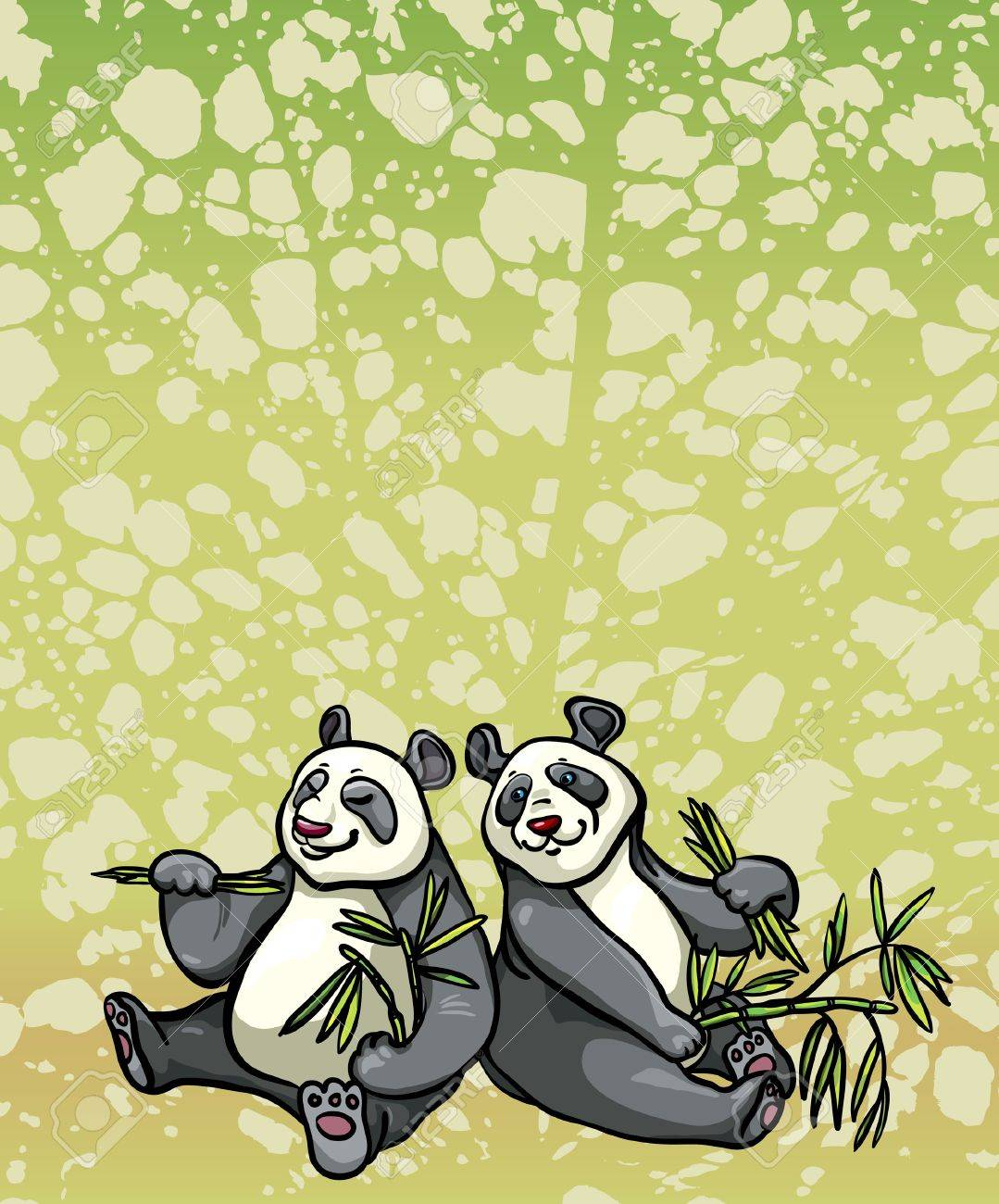 Two cartoon funny pandas are sitting and eating bamboo leaves on a green abstract background Stock Vector - 18088081