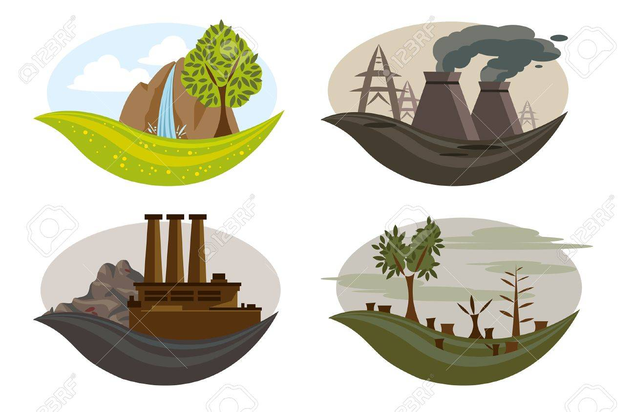 icons of global pollution on the earth Stock Vector - 19560731
