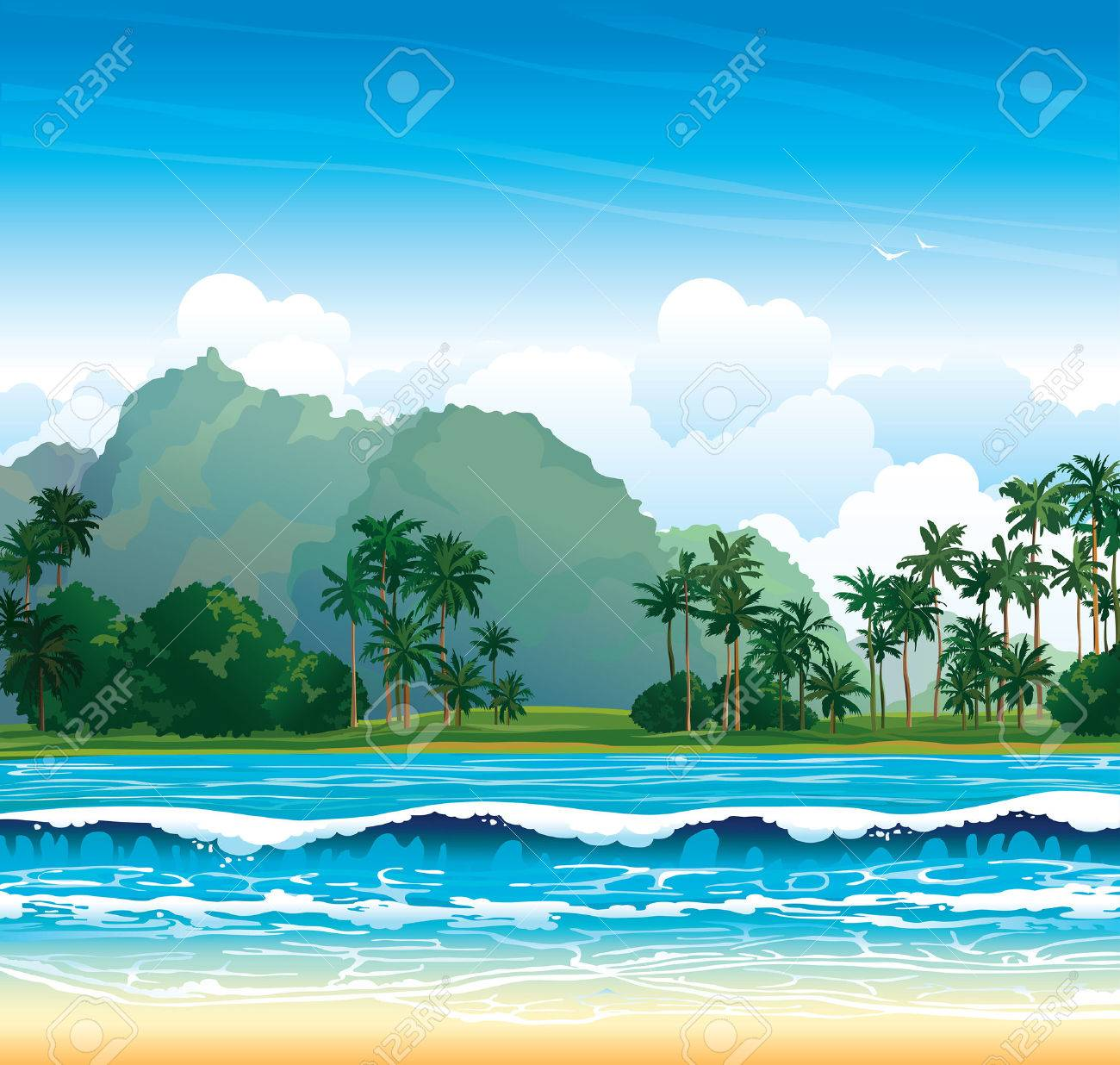Tropical landscape with blue sea, waves and palms on a cloudy sky. - 28076322