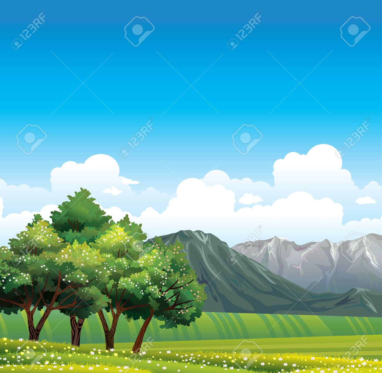 Green rural meadow with flowering trees and gray mountains on green rural meadow with flowering trees and gray mountains on a blue sky stock vector izmirmasajfo