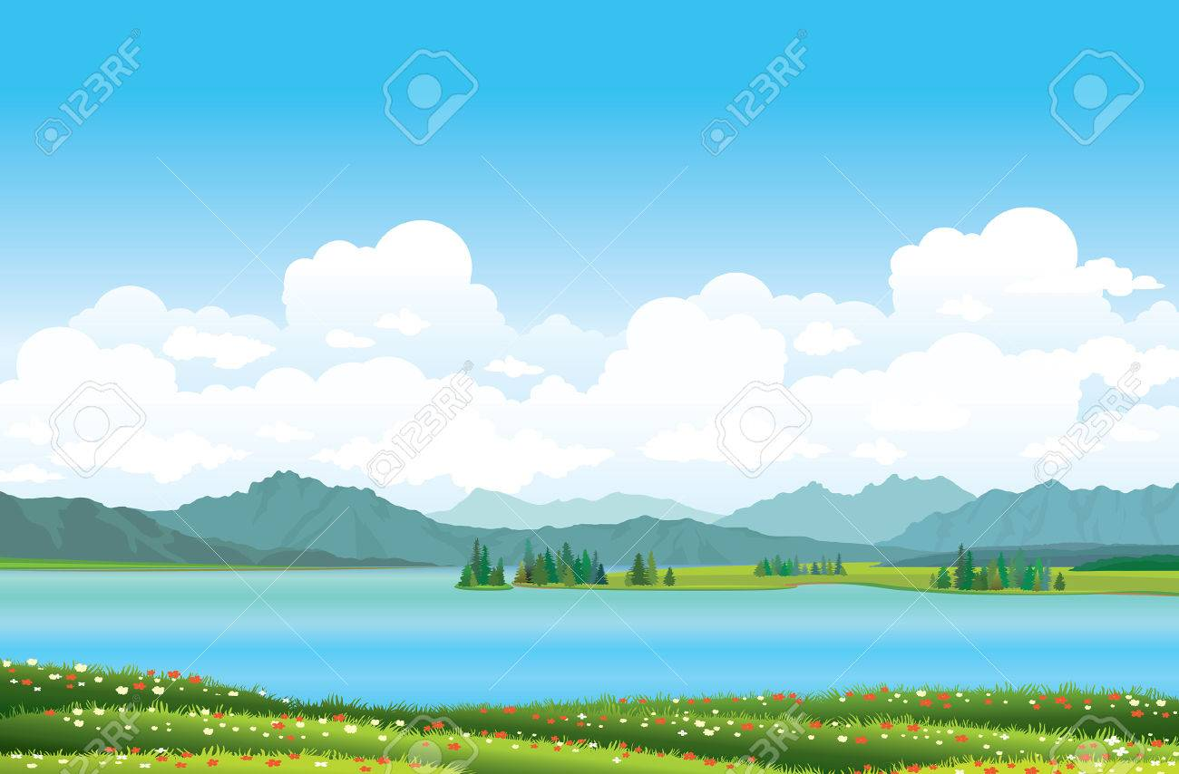 Green grass with red flowers and blue lake on a mountains background. - 29816308
