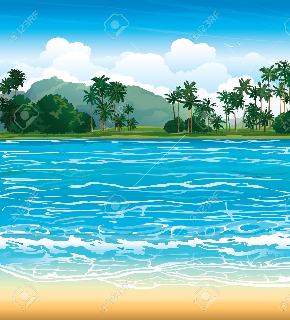 Tropical landscape with blue sea and palms. - 29816389