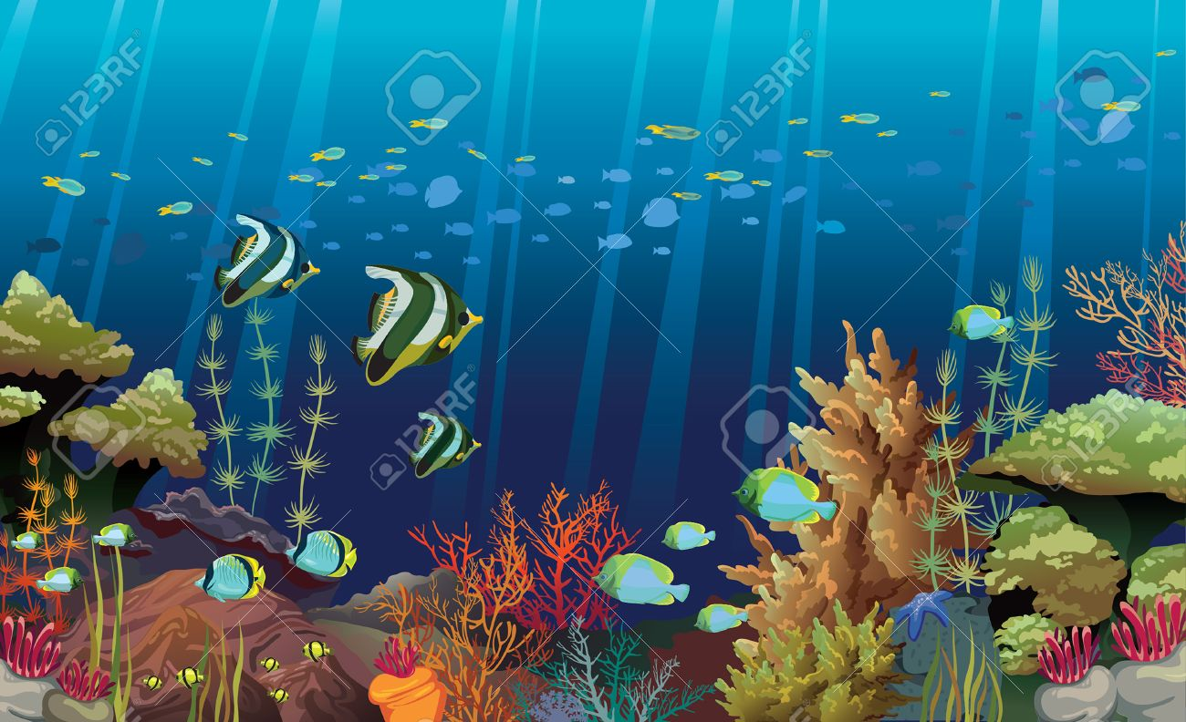 Coral Reef With Sea Creatures Underwater Nature Royalty Free Cliparts Vectors And Stock Illustration Image 29816404
