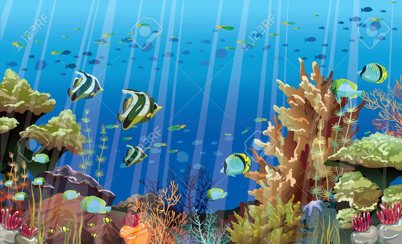 Coral Reef With Sea Creatures Underwater Nature Royalty Free Cliparts Vectors And Stock Illustration Image 29816410