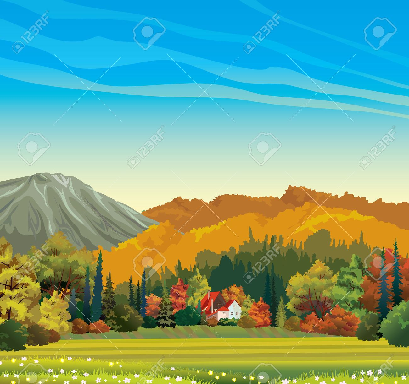Nature autumn landscape - orange forest and house with red roof on a blue sky background. - 31071916