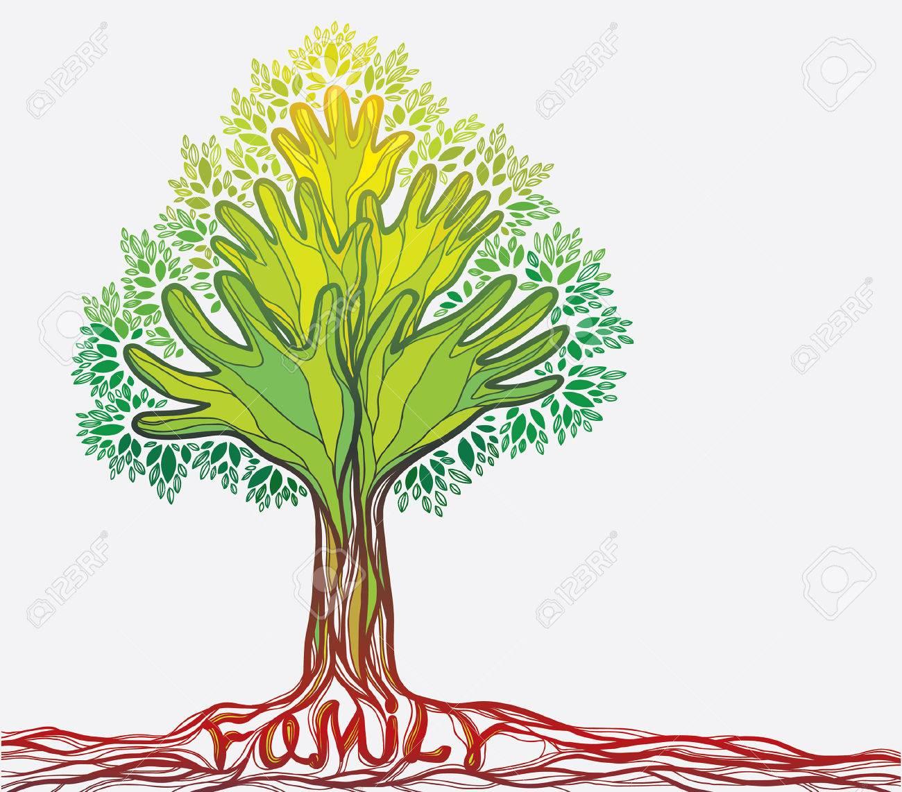 Ilustración Del Concepto Con El árbol Familiar árbol De La Mano