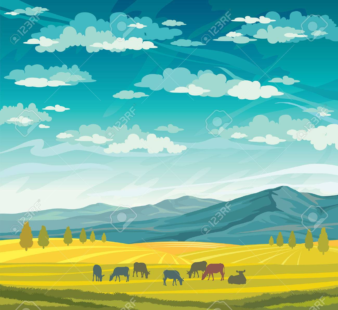 Herd of cows in green meadow on a blue cloudy sky. Vector of rural summer landscape. - 40934155
