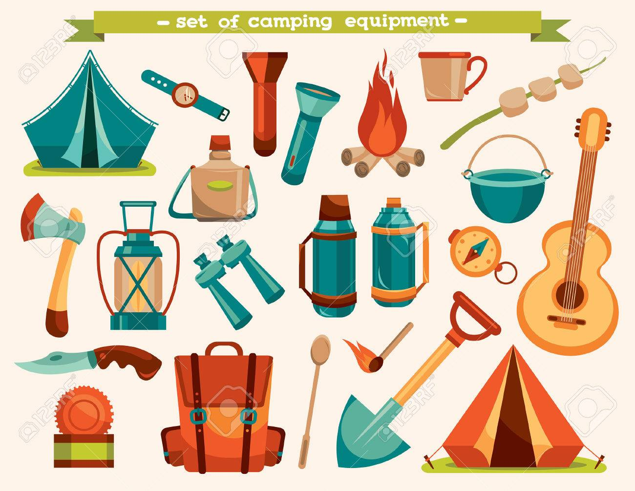 Set of camping equipment - tent, backpack, knife, flashlight and other. Vector tourism illustration. - 46035970
