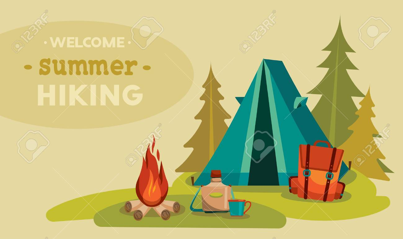 Summer tourist hiking. Vector illustration with blue tent, red backpack and campfire on a green grass. - 46035975
