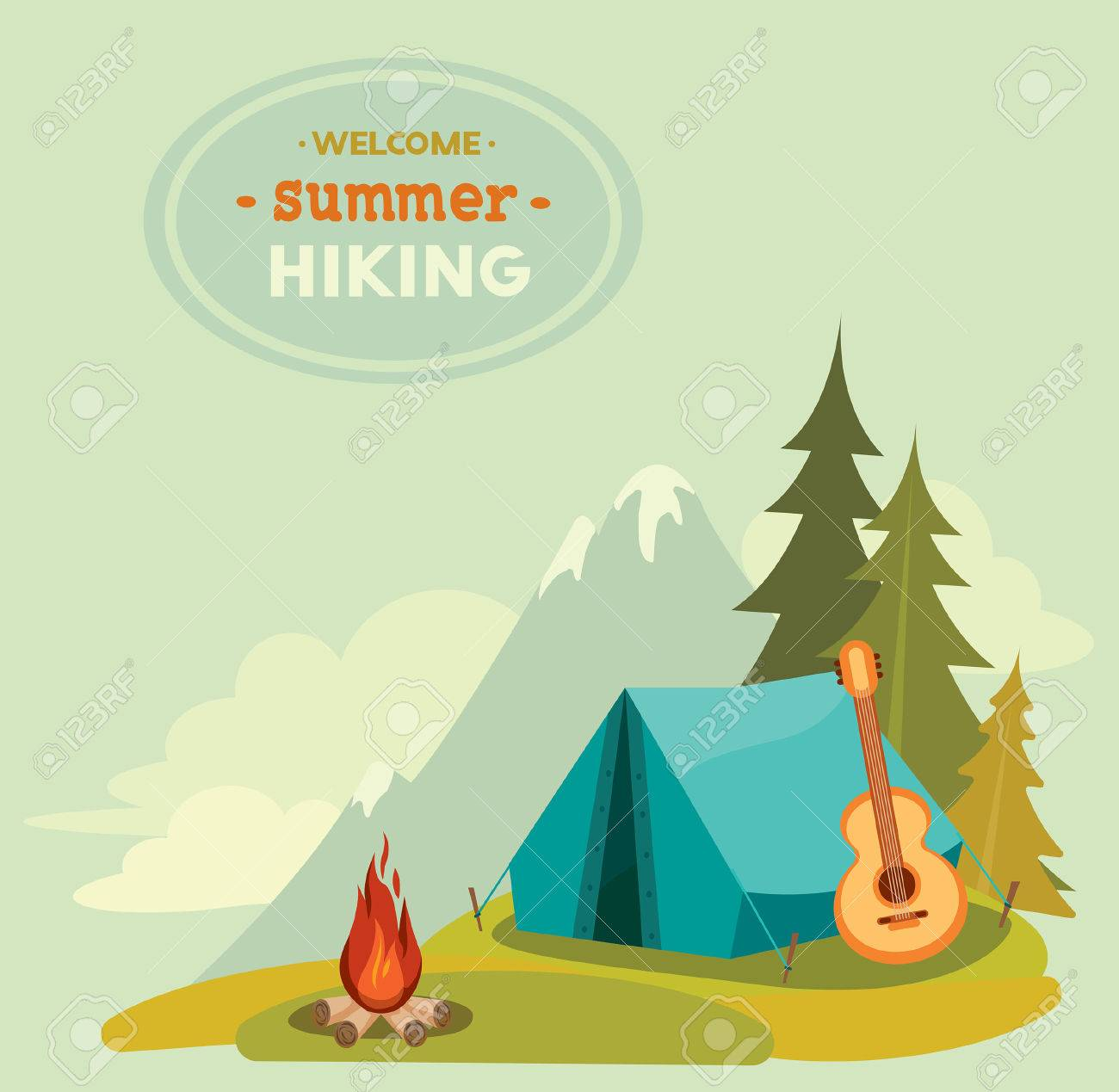 Summer hiking - vector illustration with blue tent, guitar and campfire on a green grass on mountain background. - 46035977