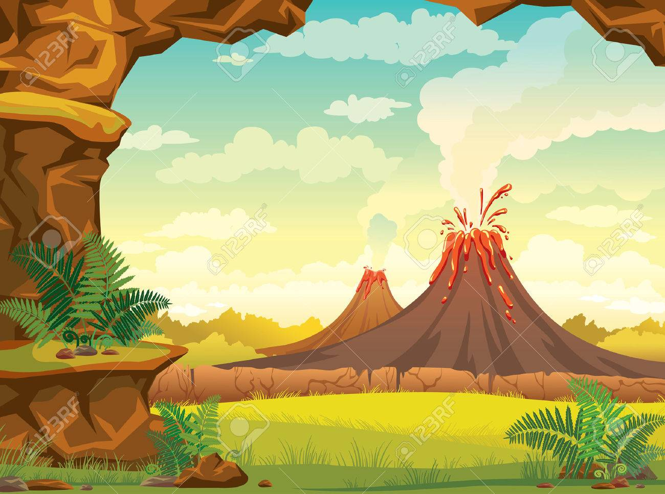 Vector natural illustration - prehistoric lanscape with cave, smoky volcanoes and green grass on a cloudy sky. Stock Vector - 46319697