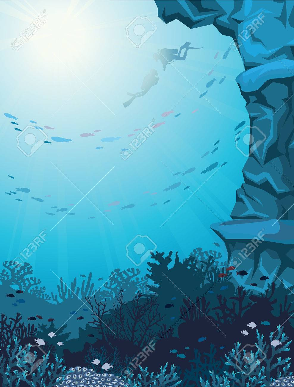 Two scuba divers and coral reef with school of fish on a blue seascape. Underwater vector illustration. - 46319701