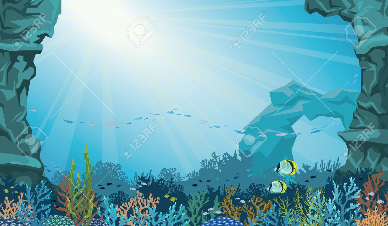 Coral reef with school of fish and underwater arch on a blue sea background. Underwater seascape vector illustration. - 47782746