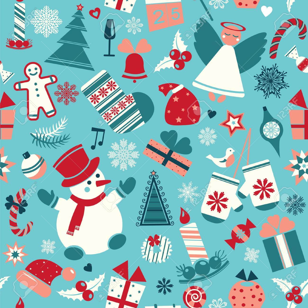 Seamless Cartoon Christmas Pattern On A Blue Background Wallpaper