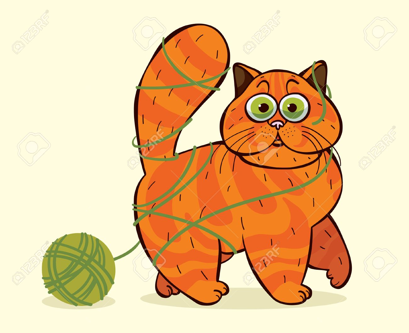 Funny Cartoon Domestic Cat Caught In A Tangle Of Yarn Vector