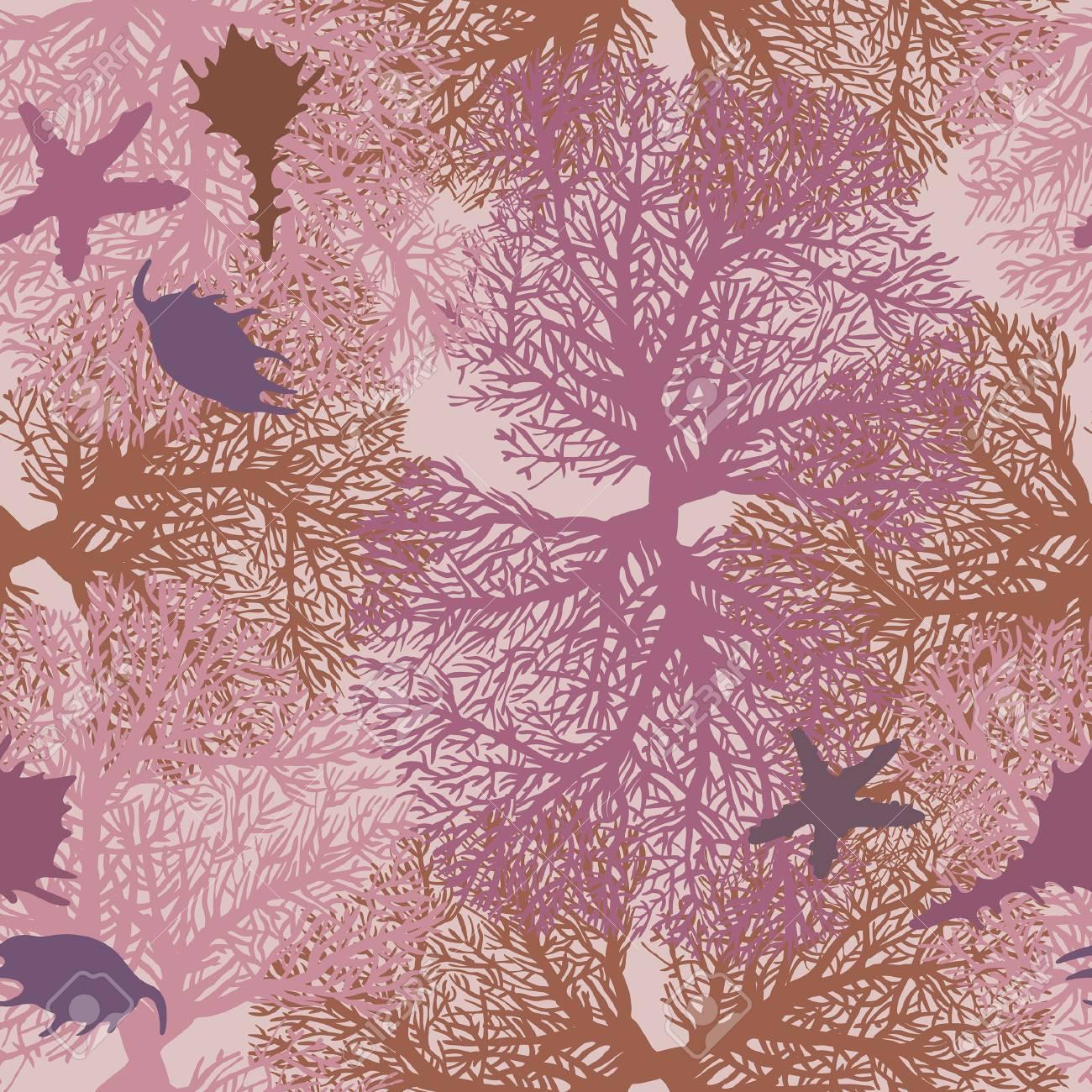 サンゴ ヒトデと貝殻のシームレスなパターン 水中の海の壁紙 のイラスト素材 ベクタ Image