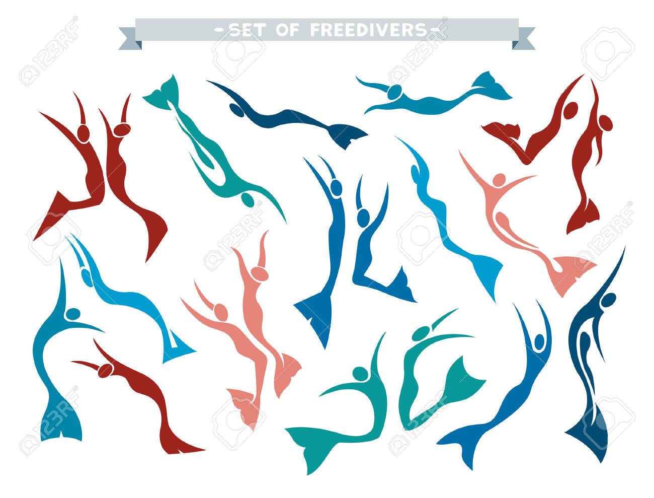 Vector collection with isolated silhouette of freedivers in monofin on a white background. Set with different pose of free divers. - 52916884