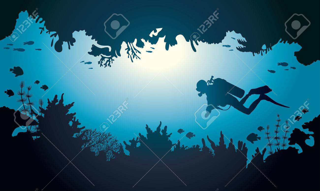 Silhouette of scuba diver and coral reef with fish on a blue sea. Vector illustration with tropical underwater cave. - 58741382