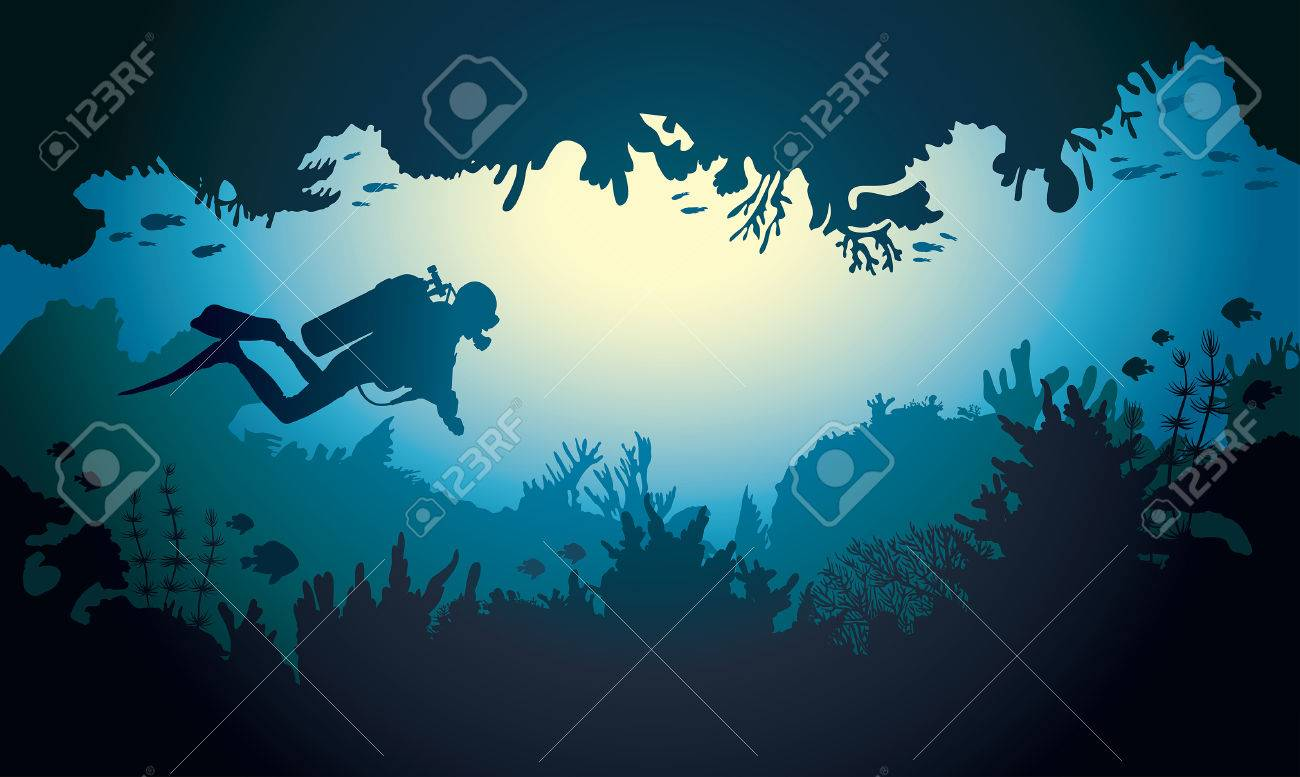Underwater sea cave with scuba diver, coral reef and fish. Tropical vector illustration. - 58741399