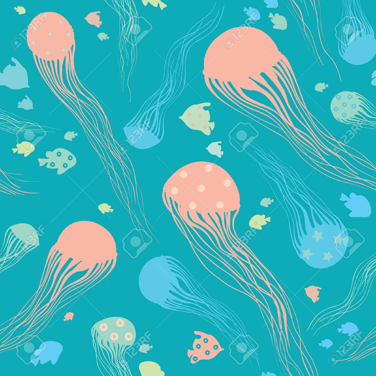 Cartoon Jellyfish On A Blue Background Seamless Vector Pattern Wallpaper With Underwater Creatures