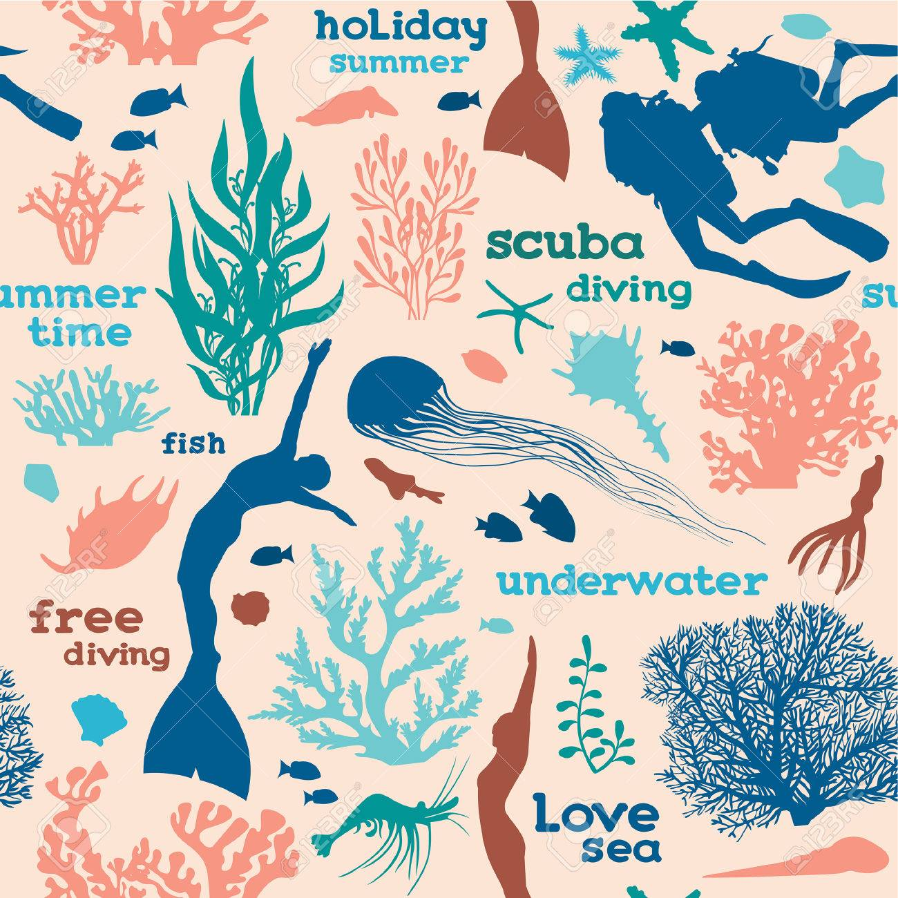 Vector seamless pattern with silhouette of divers, free divers, corals and fish on a pink background. Underwater sea wallpaper. - 62146601
