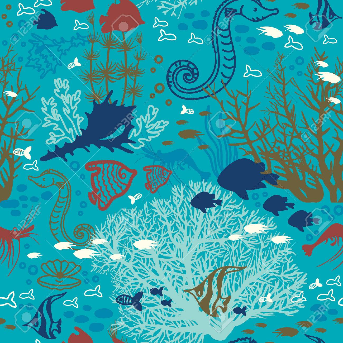 Cartoon Wallpaper With Coral Reef Fish And Underwater Creatures Seamless Pattern Illustration Stock