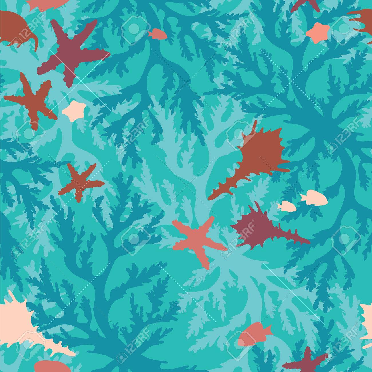 Seamless Underwater Pattern With Blue Corals Seashells Fish And Starfish Sea Life Wallpaper