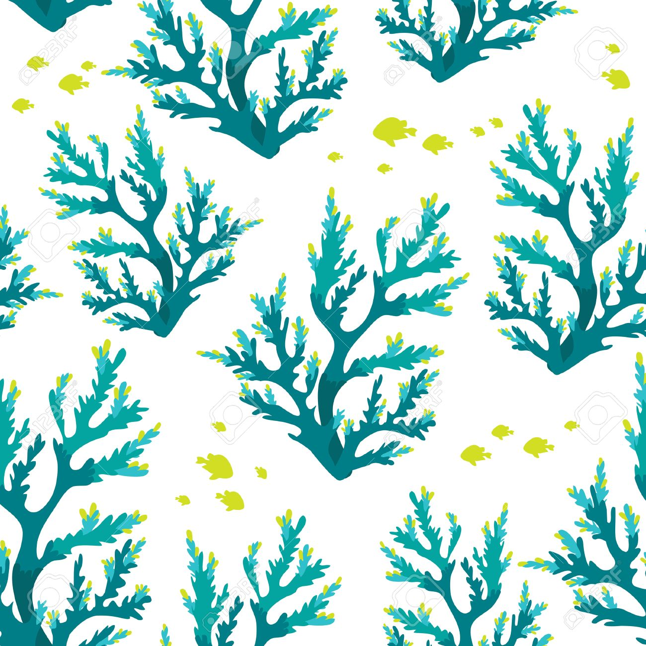 Seamless Underwater Pattern With Blue Corals And Fish Sea Life Wallpaper Stock Vector