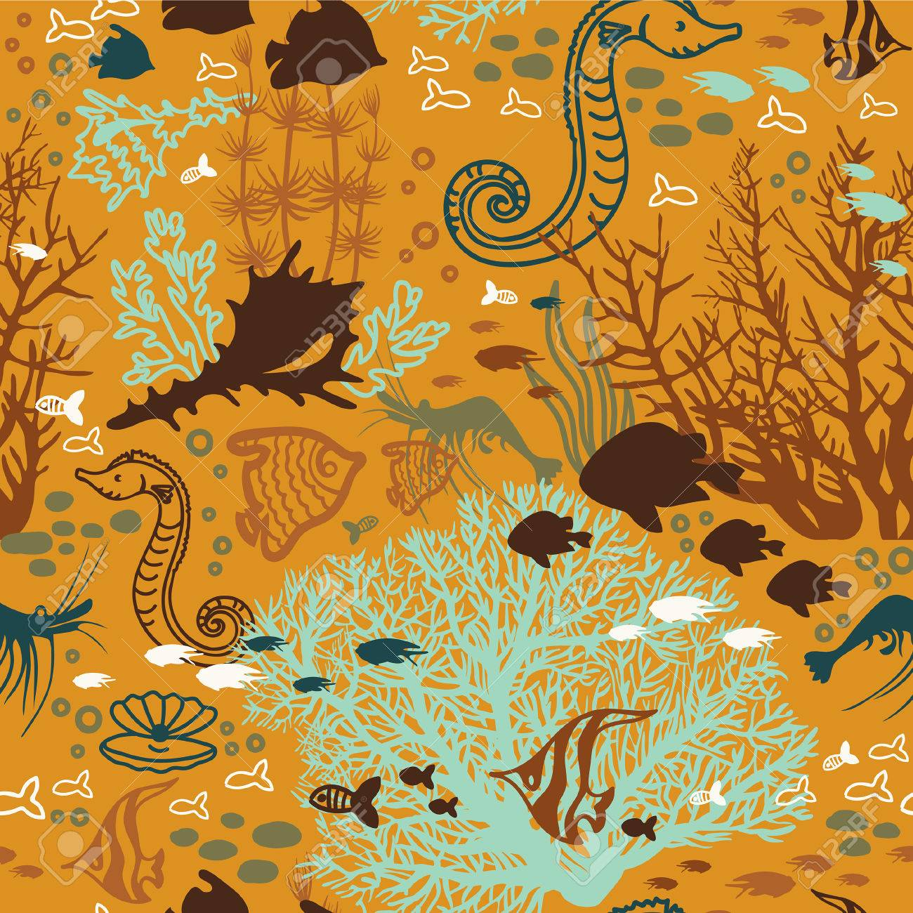 Underwater Sea Life Seamless Pattern With Coral Reef Fish Seashells And Another Ocean