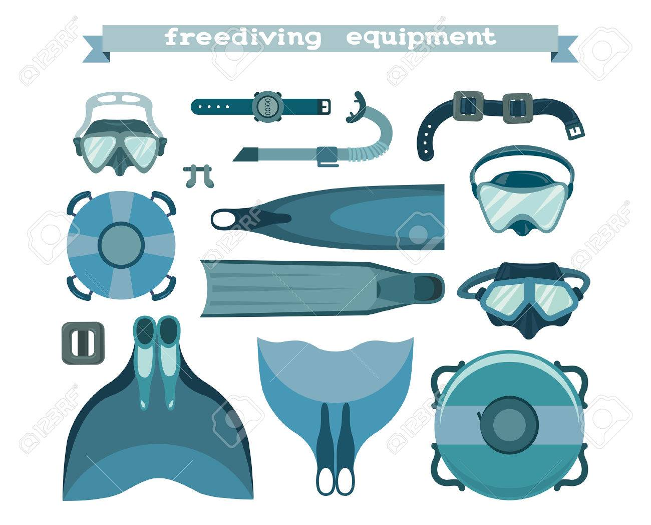 Freediving equipment collection on a white background  Mask and
