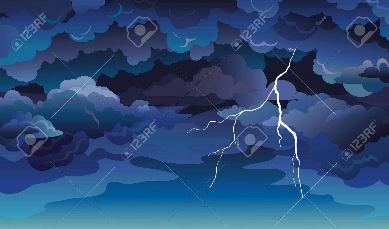 Vector skyscape with blue clouds, dark sky and lightning. Illustration with summer storm. - 79890203