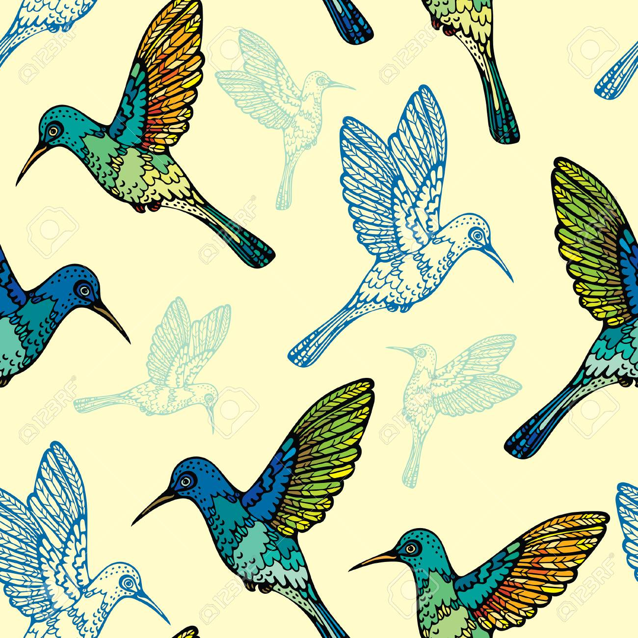 Colorful Seamless Pattern With Graphic Hummingbirds On A Yellow Background Vector Birds Wallpaper Stock