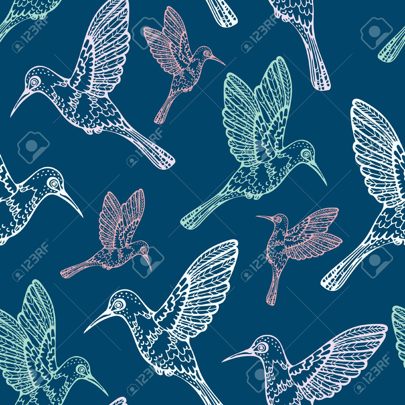 Vector Seamless Pattern With Colibry On A Blue Background Cartoon