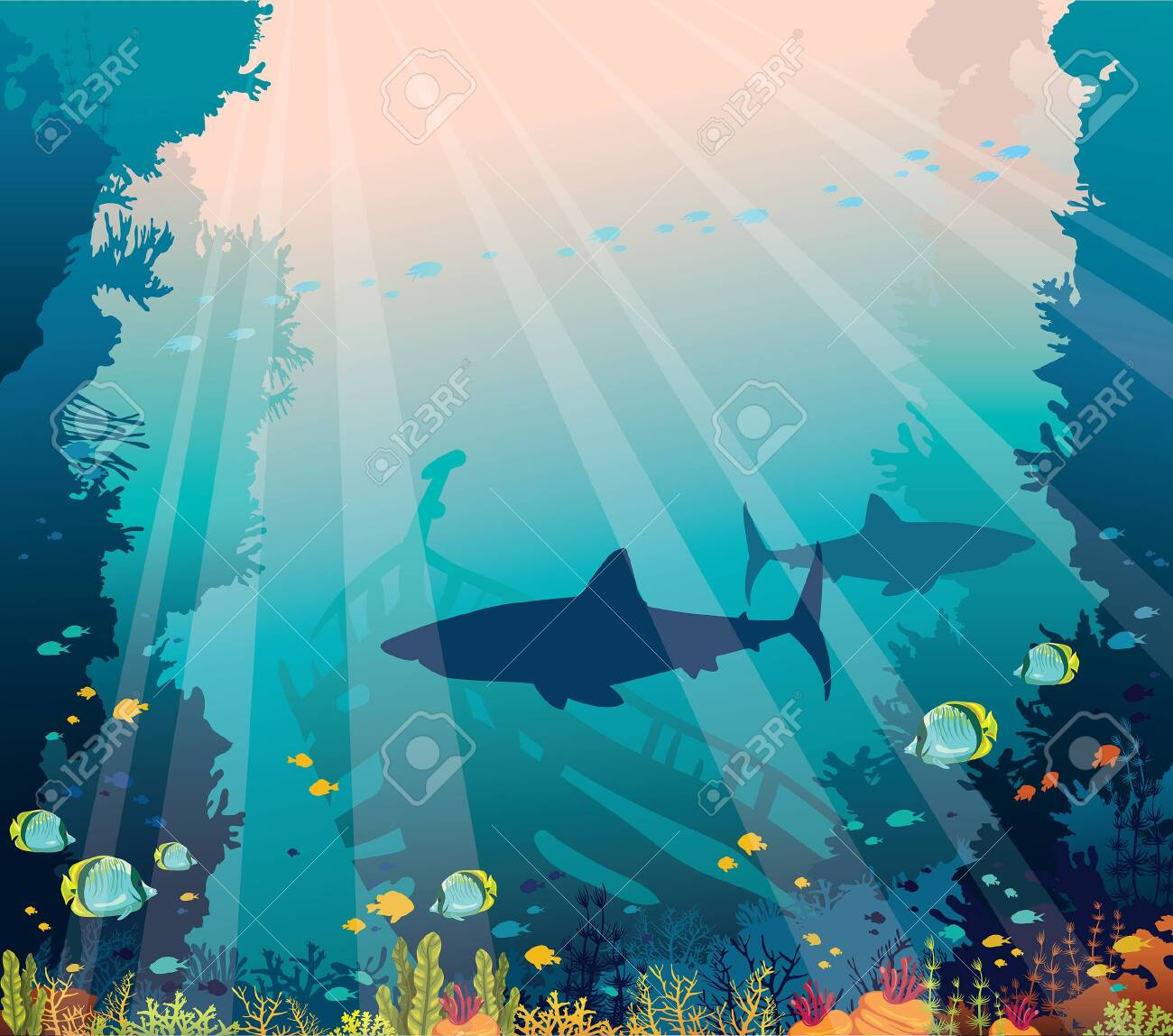 Underwater nature and marine wildlife. Silhouette of sharks, sunken ship, school of tropical fishes and coral reef on a blue sea background. - 122473674