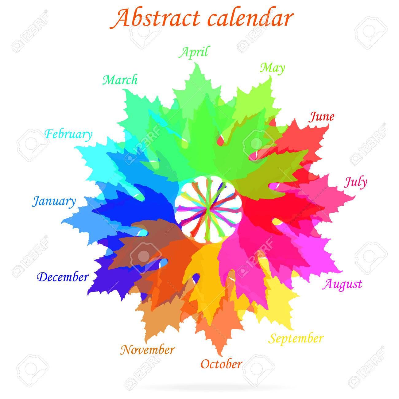 Calendario Abstracto Aislado Con Hojas De Colores De La Primavera ...