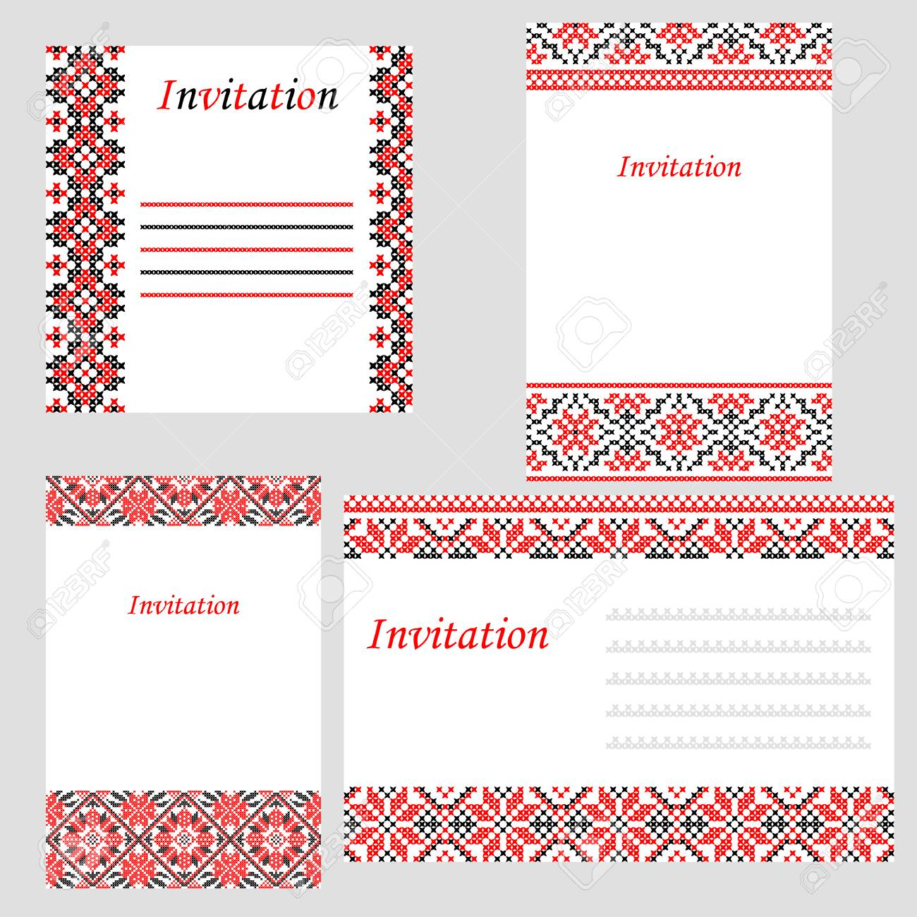 Set Of Wedding Invitations With Abstract Flat Red Black Ornaments ...