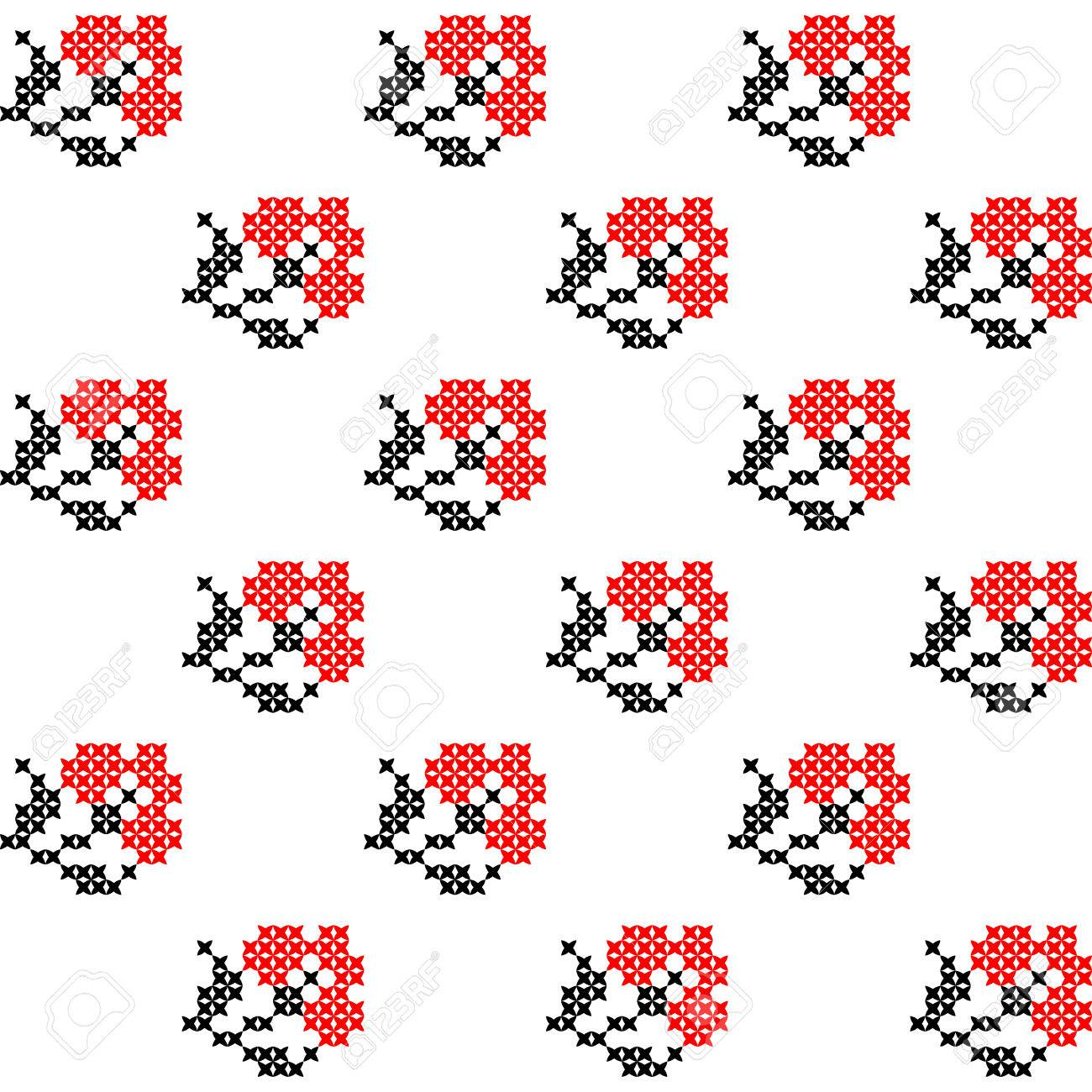 Textura Inconsútil Aislado Con Claveles Rojos Bordados Abstractos ...