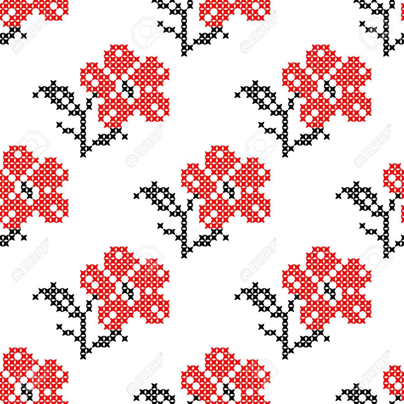Textura Inconsútil Con Las Flores Aislado Bordados Rojos Abstractos ...