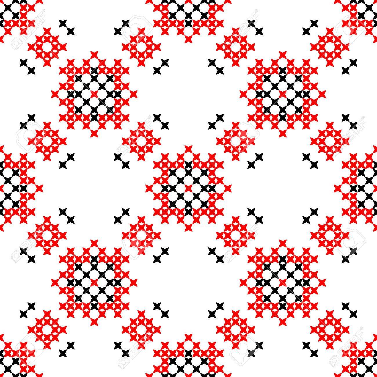 Perfecta Textura Bordado De Patrones Abstractos Planos De Color Rojo ...