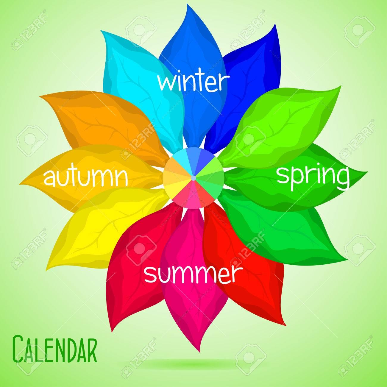 Calendario Abstracto Con Hojas De Color, Primavera, Verano, Otoño ...