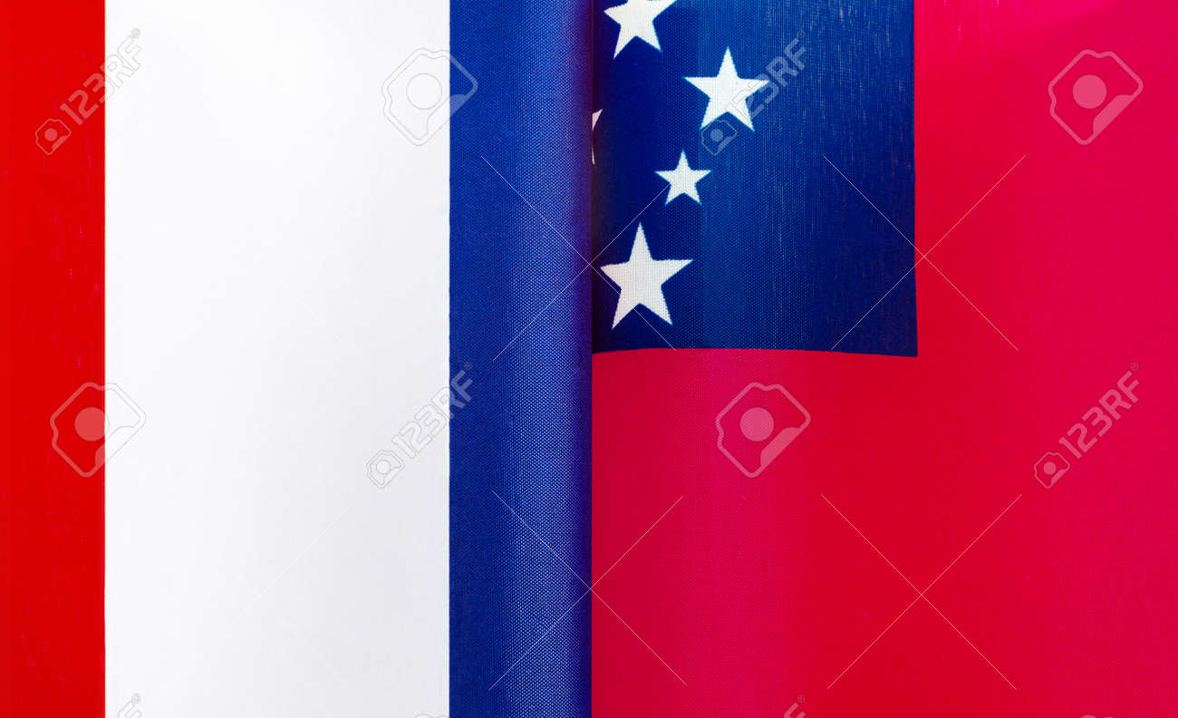 fragments of the national flags of France and Samoa close-up - 168479516