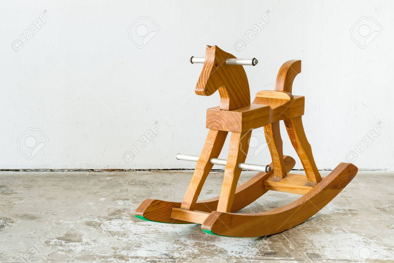 Cute Vintage Classic Rocking Horse Chair Children Could Enjoy The Riding On  White Background Stock Photo