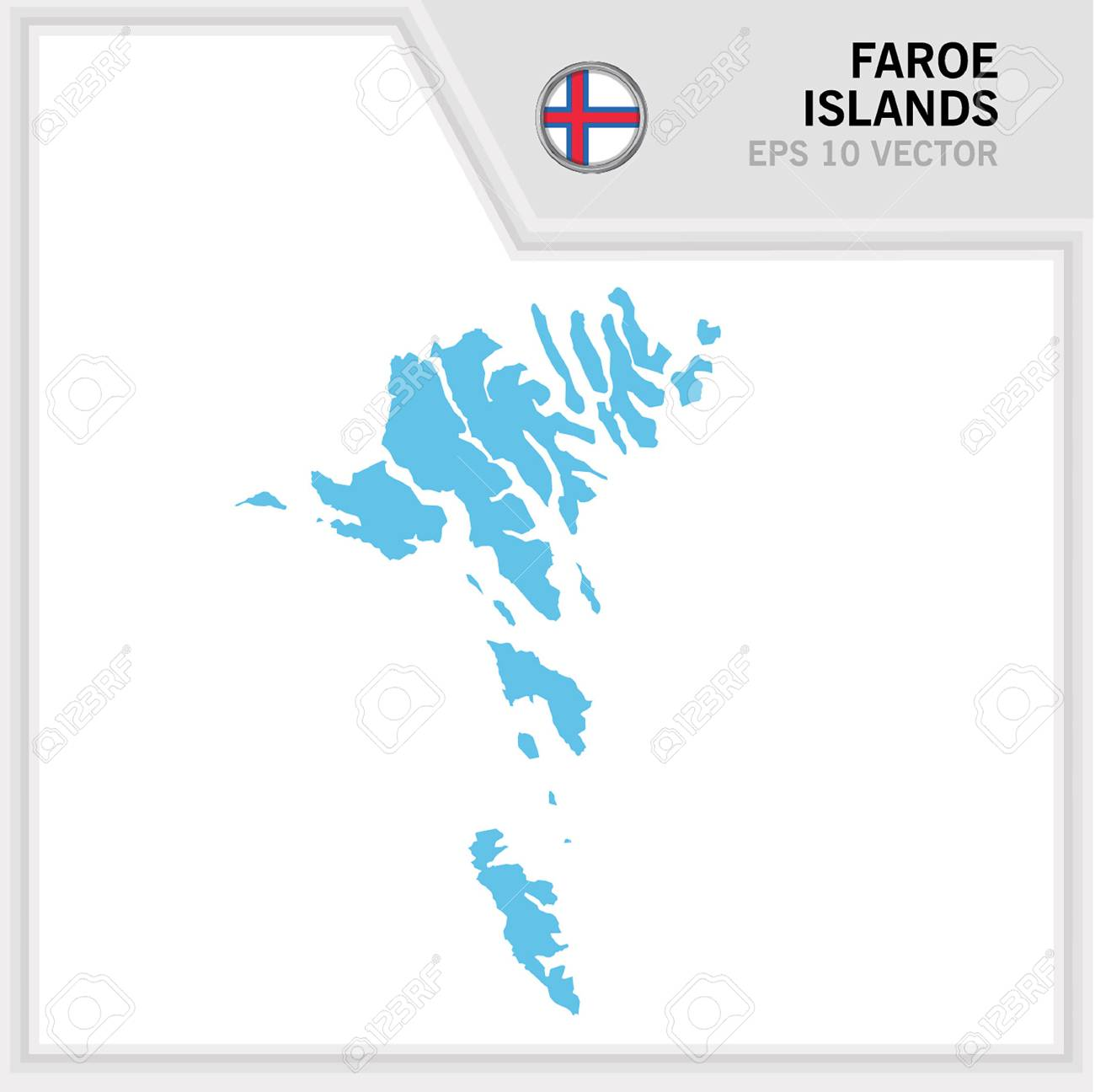 Faroe Islands map and flag in white background