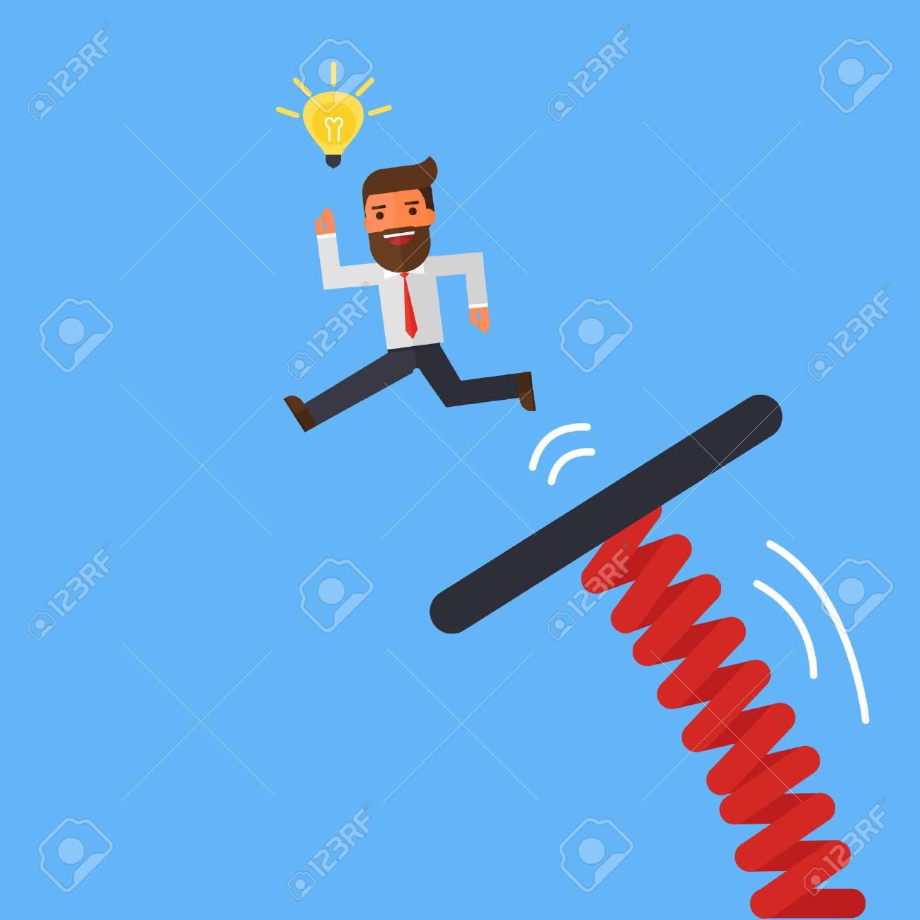 青い空に飛び込み板からジャンプの実業家のイラスト素材ベクタ Image