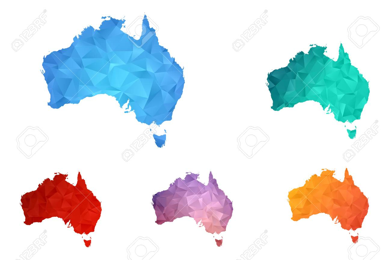 Map Of Australia Logo.Variety Color Polygon Map On White Background Of Map Of Australia
