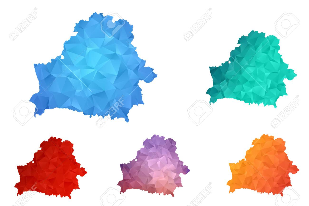 Variety color polygon map on white background of map of Belarus