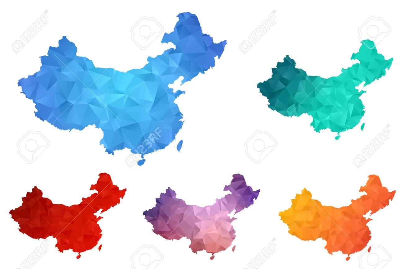 Variety color polygon map on white background of map of China