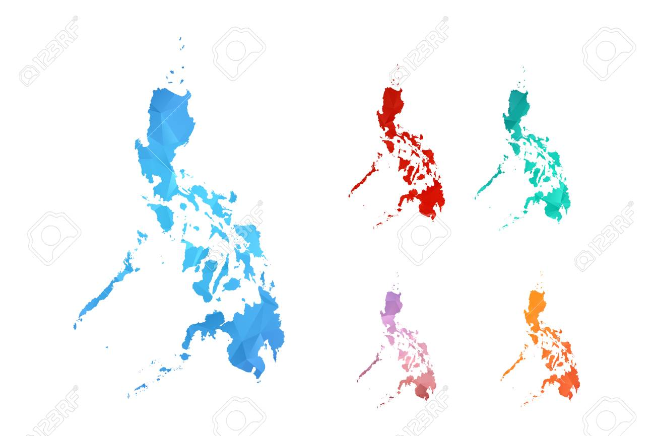 Philippine Map Logo Variety Color Polygon Map On White Background Of Map Of