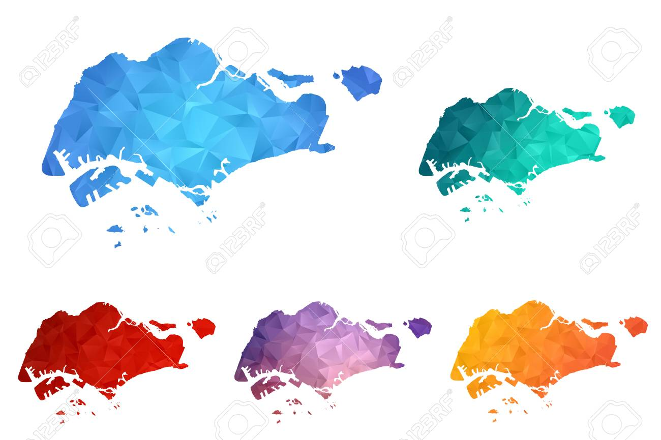 Variety Color Polygon Map On White Background Of Map Of Singapore ...